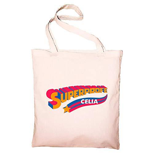 """calledelregalo Regalo personalizado para profesoras: bolsa tote bag BIO para """"SuperProfes"""" personalizada con su nombre (Superprofe naranja)"""