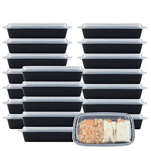 NutriBox 28 OZ [20 value pack] Meal Prep Plastic Food Storage Containers 1 Compartment with lids- BPA Free Reusable Lunch Bento Box - Microwave, Dishwasher and Freezer Safe, Portion Control