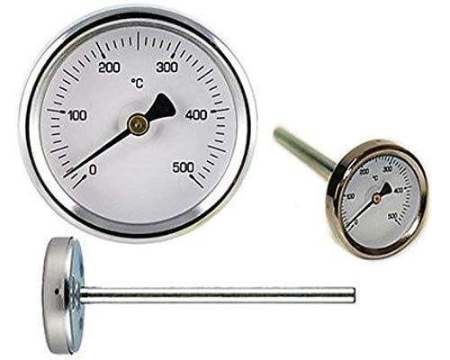 Termometro Forno Legna Barbecue 0-500 Gr Sonda Rigida 15 Cm Temperatura