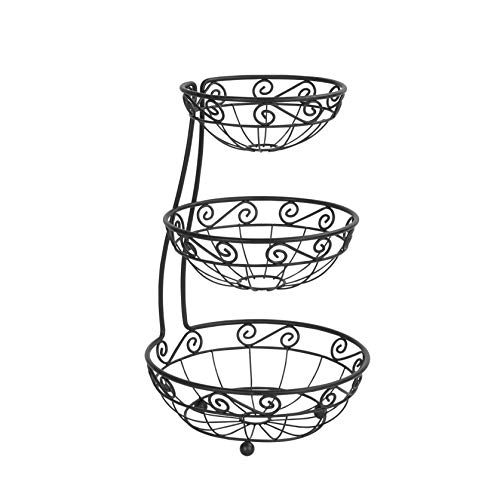 Spectrum Diversified Scroll Arched Server Stacked 3-Tier Fruit Bowls Counters Traditional Kitchen Décor Fruit Basket Stand Black