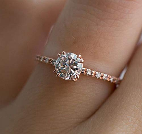 Goldenchen ファッションジュエリー ローズゴールドメッキ 2ct ラウンド CZ クリスタル 4プロング 模造ダイヤモンド ソリティア 結婚婚約指輪 7 191212