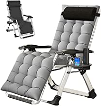 SLSY Zero Gravity Chair, Lounge Chair with Removable Pad & Cup Holder for Indoor and Outdoor, Ergonomic Patio Recliner, Folding Reclining Chair for Adults, Gray