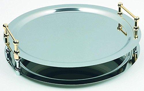 APS 11160 BUFFET-STAR Edelstahl poliert System Tablett, Ø 48 cm, mit verchromten Griffen