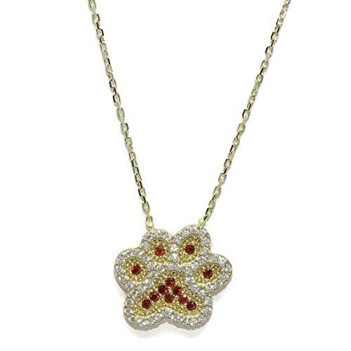 Never Say Never Halskette aus Gelbgold mit Hundefutter mit Zirkonia Qualität und geschmiedeter Kette von 45 cm. Alles in 9 Karat Gold