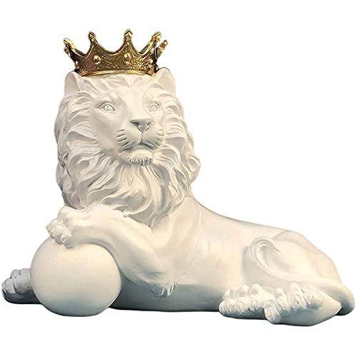 Estatuas Esculturas Crown Golden Lion Statue Figura Animal Resina Decoración Moderna Escultura Artesanía para La Sala De Estar