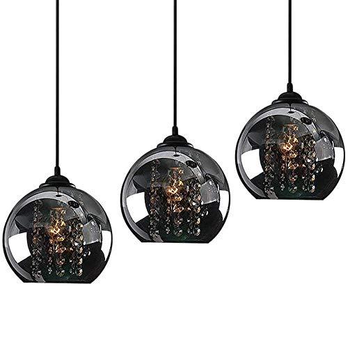 Pendelleuchte Glas schwarz 3-flammig Hängelampe Esstisch Hängeleuchte Schlafzimmer E27 Pendellampe Wohnzimmer Modern innen Deckenleuchte rustikal Kronleuchter für Küche Flur lampe Esszimmer