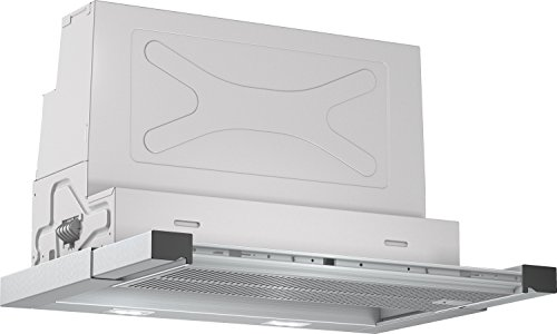 Bosch DFR067T50 Serie 6 Flachschirmhaube / B / 60 cm / Edelstahl / wahlweise Umluft- oder Abluftbetrieb / Kurzhubtasten / Silence / Intensivstufe / Metallfettfilter (spülmaschinengeeignet)