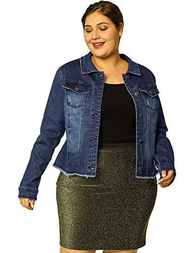 Womens Plus Size Dark Blue Cropped Denim Jacket