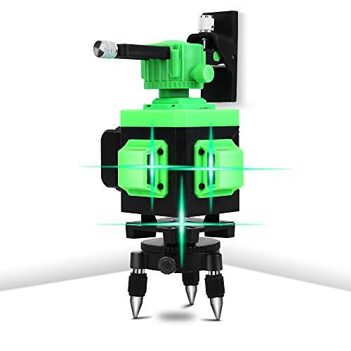 MuGuang 3x360 ° Livella Laser 3D Raggio Verde a Livello Laser a 12 Linee Laser Autolivellante Linea Verticale e Orizzontale con Kit di Strumenti di Misura per Montaggio Pivotante IP54