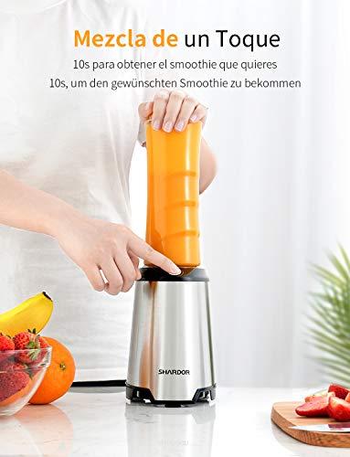 SHARDOR-Mixer-Smoothie-Maker-fuer-Gemuese-und-Obst-Multifunktionaler-standmixer-Edelstahl-2-BPA-freie-spuelmaschinenfeste-Trinkflaschen-Deckel-600ml-350W