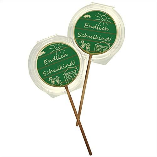 """Lolli aus weißer Schokolade mit Einschulungsmotiv """"Endlich Schulkind"""" in grün"""