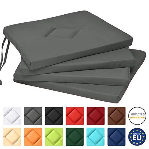 Beautissu Lot de 4 Galettes de Chaise Kim Confortable coloré Idéal pour intérieur extérieur 40x40x3cm Anthracite