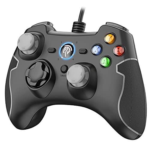 EasySMX Joystick per PC Controller per Giochi con Cavo a Doppia Vibrazione, Turbo Gamepad per PC Windows/Android / PS3 / TV Box (Grigio)