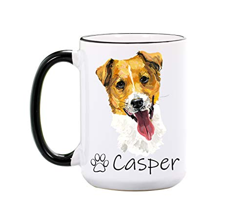 Jack Russell Terrier Mug - Personalized Large 15 oz or 11 oz Ceramic Mugs - Dog Mom Gifts for Women, Kids - Pet Coffee Cup - Dog Mugs - Dishwasher & Microwave Safe - Made In USA