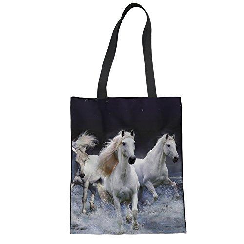 Upetstory Folding Reusable Produce Bag for Women Recycle Shoulder Cotton Bag Creative Animal Horse Designer