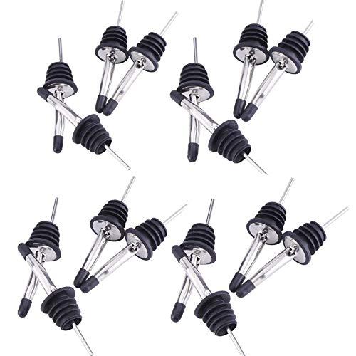JZK 16 x Vertedores de Acero Inoxidable boquillas con Boquilla Larga y tapón para Botellas Vino, Aceite, vinagre, Aceite, cóctel, Jugo