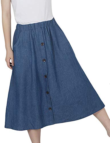 Tanming Womens Summer Retro Elastic Waist Button Mid Long Midi Pleated Denim Skirt (Blue, One Size)
