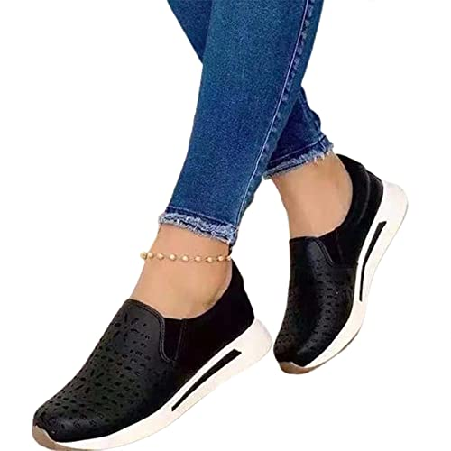 Mxhuc Sneakers da donna alla moda Hollow Pu Leather Platform for Couple Walking Shoes Casual Donna Sneakers scarpe da trekking scarpe da trekking casual