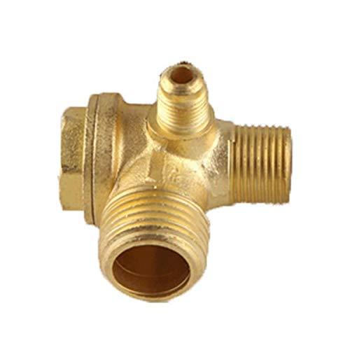 XMHF Male Thread Brass Air Compressor Check Valve Spare Parts Gold Tone 90 Degree Right Check Valve
