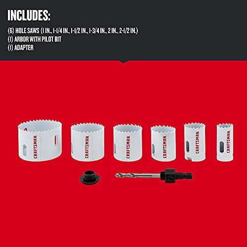 CRAFTSMAN Hole Saw Kit, Bi-Metal Set, 7-Piece (CMAH1SET7)