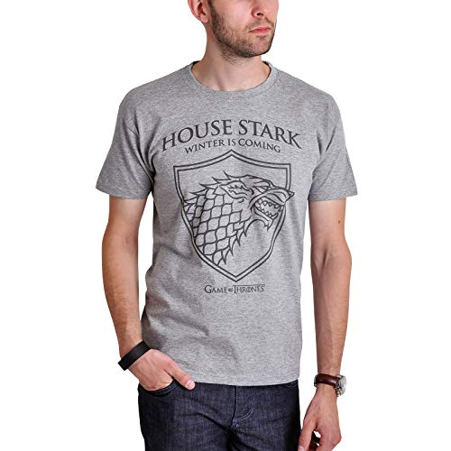 Game of Thrones House Stark T-Shirt mit Schattenwolf von Elbenwald grau - L