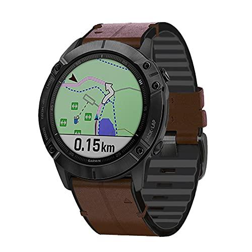TopTen Correa de reloj deportivo de piel de ajuste rápido de 22 mm, compatible con Garmin Forerunner 935,945/Fenix 5/Fenix 5 Plus/Fenix 6/Fenix 6 Pro/Instinct Strap (café)