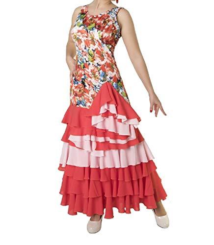 ANUKA Frauenkleid für Flamenco-Tanz oder Sevillanas. Made In Spanien (Orange/Lachs, M)