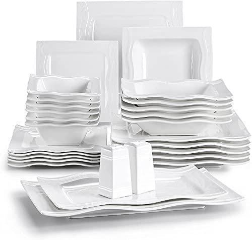 MALACASA, Series Mario, 28-Piece Cream White Porcelain China Dinner Set...