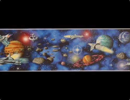 A.S. Création Bordüre Only Borders Papier Space Shuttle`s in Universe 5,00 m x 0,17 m blau bunt Made in Germany atmungsaktiv feuchtigkeitsregulierend umweltfreundlich 999313 9993-13