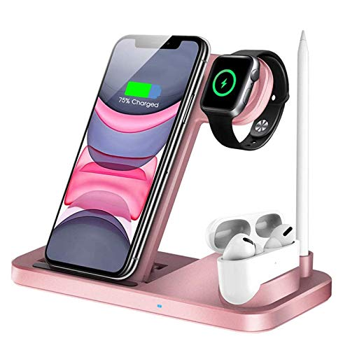 Cargador Inalámbrico Rápido,QI-EU 4 en 1 Inalámbrica Soportes de Carga para Apple Watch Airpods Pro iPhone 12/11 / 11pro / X/XS/XR/XS MAX / 8 Plus, Samsung Galaxy S20 (Incluye Adaptador QC3.0)
