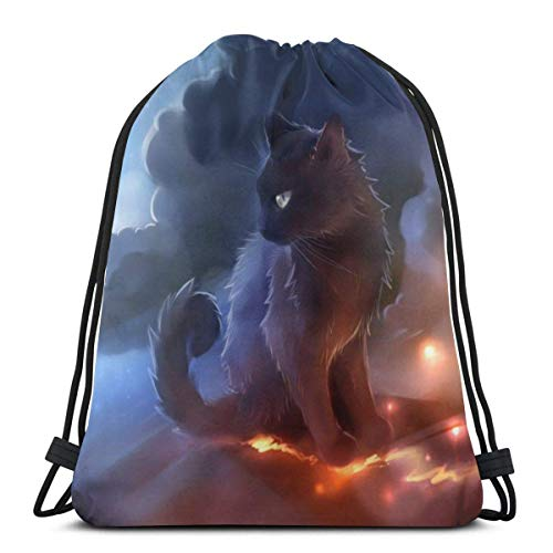 Unisex Cute Cartoon Cat Drawstring Backpack Cinch Polyester Lightweight Waterproof Sackpack for Sports Gym Yoga Swimming Traveling