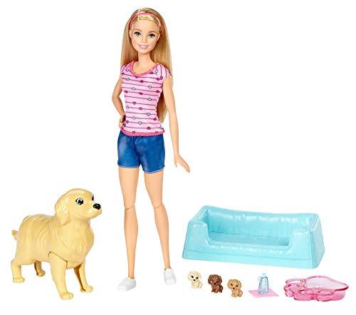 Mattel Barbie FDD43 Hundemama, Welpen und Puppe