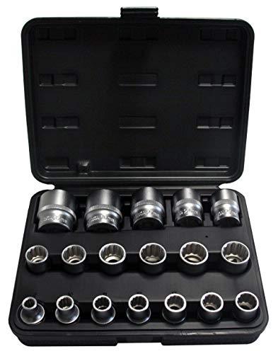 """Steckschlüsseleinsätze 12-KANT / Zwölfkant 1/2"""" Schraubenschlüssel-Einsatz Vielzahn (Doppel-Sechskant / Doppel-6-kant) Nuss 8-32 mm Stecknuss Satz aus Chrom-Vanadium-Stahl 18 tlg. Inkl. robuste Kunststoffbox"""