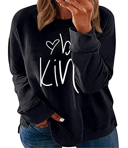 Womens Plus Size Tops Casual Be Kind Long Sleeve Shirts Side Slit Sweatshirts 3X