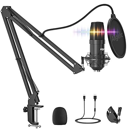 Allgetc Microphone USB, Microphone Set à Condensateur 192KHz/24Bit avec Microphone Réglable Suspension Perche Ciseaux Bras et Filtre Anti-Pop pour Jeux, Streaming, Podcasting