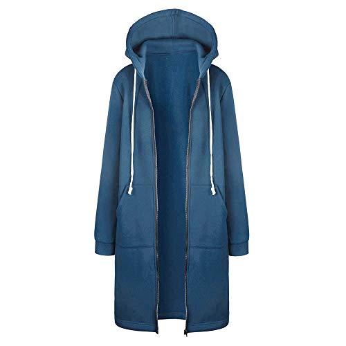 VEMOW Winter Mantel Damen Lang Jacken Frühling Parka übergangsjacke Damen Günstig Hoodie Pullover Sweatshirt Langarm Einfarbig Kapuzenpullover Für Frauen(Blau,2XL)