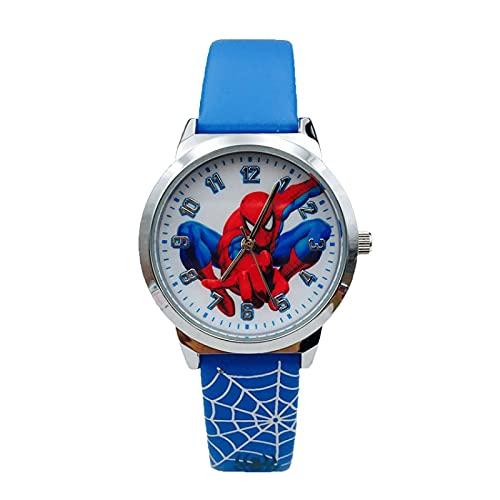GJPSXTY Reloj para niños con patrón de Spider-Man de Dibujos Animados Lindo, Reloj de Cuarzo Impermeable, Reloj Escolar de 5-13 años D