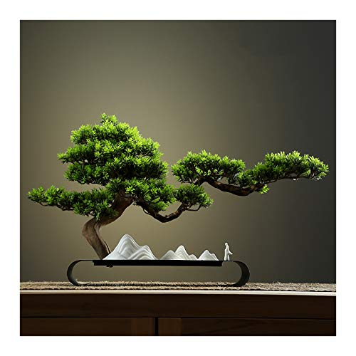 kerryshop Simulation Tree Artificial Bonsai Pine Tree Faux Potted Plants House Plants Creative Office Living Room Entrance Decoration Bonsai Crafts Gift Artificial tree (Color : Green-a)