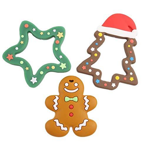 Promise Babe 3PCS Beißring Kleinkind Spielzeug, Silikon Beißspielzeug, Weihnachtsbaum Anhänger Pflege Schmuck Halskette Kauen Zubehör Baby Dusche Spielzeug