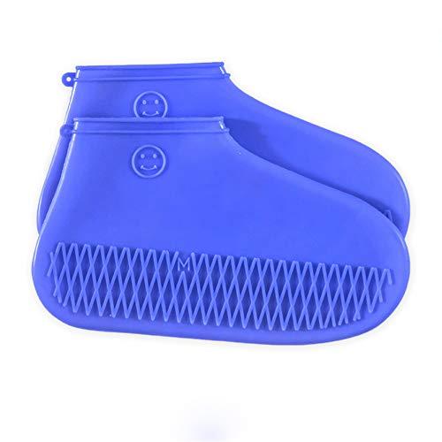 MANGATA überschuhe wasserdicht, wasserdichte überschuhe silikon für Herren, Damen, Kinder, Rutschfest Dehnbar (Mittel, Blau)