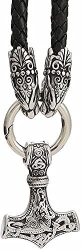 W-RNM Nordic Viking Thor's Hammer Colgante Lobo Cabeza Collar, Hombres Acero Inoxidable Mjolnir Fenrir Cadena de Cuero Trenzado, Edad Media Protección Religiosa Joyería de talismán