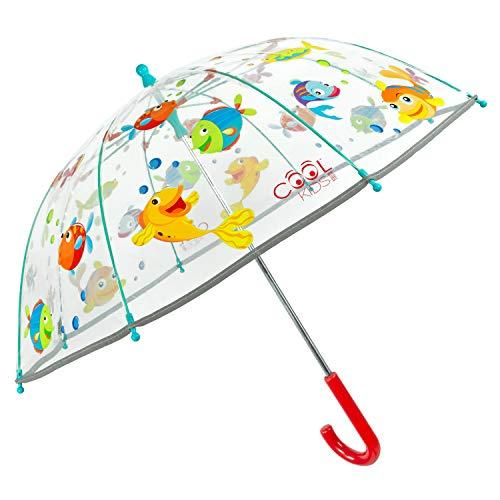 Regenschirm Kinder Transparent Fisch - Regenbogen Lustige Fische Kinderschirm Reflektierend für Kleine Jungen 3 4 5 Jahre - Kinderregenschirm Durchsichtig - Durchmesser 64 cm - Perletti (Fische)
