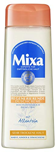 Mixa Regenerierende Duschcreme, mit Allantoin, für empfindliche, sehr trockene Haut, seifenfrei, pH-neutral und ohne Parabene, 3er Pack (3 x 250 ml)