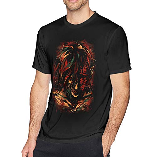 Dio Anime Attack On Titan Eren Men's Soft Cotton Long Sleeve T-Shirt Top Black