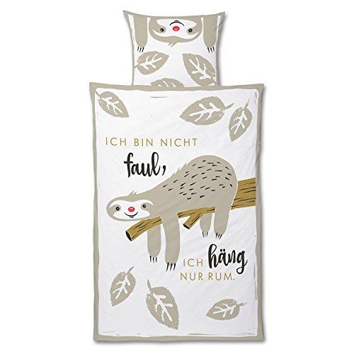 Die Geschenkewelt 45175 Happy Life Bettwäsche Faultier, Baumwolle, Bezug 135 cm x 200 cm, Kopfkissen 80 cm x 80 cm, 2-teilige Garnitur, Weiß