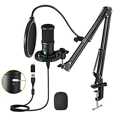 USB Microphone Kit 192KHZ/24BIT, Aveek Podcast PC Microphone with Mute, Headset Monitoring & Noise Cancelling, Cardioid Condenser Mic with Boom Arm for Computer and Phone, YouTube, Gaming, Recording