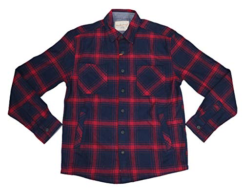 Weatherproof Vintage Heavyweight Flannel Plaid Button Down Shirt (Ombre Blue, Small)