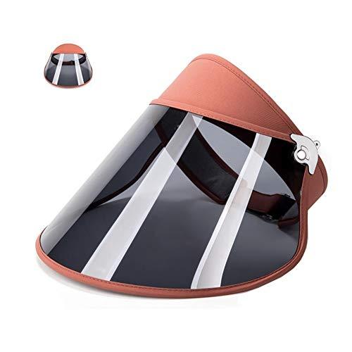 ZX-cappello Sole Visiera UV Protezione Cappello cap, Grande Tesa da Donna Estate Regolabile (Colore : Rosso Mattone, Dimensioni : 52-60cm)