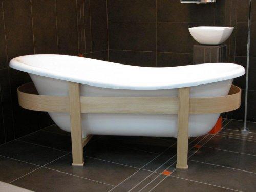 Freistehende Luxus Badewanne Jugendstil Toscane, Weiß mit Holzgestell