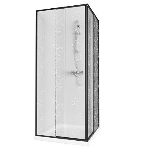 Aquabad® Simpla | Eckeinstieg Duschkabine | Rahmenfarbe: Schwarz | Plexiglas mit Tropfendekor (Acrylglas) | Größe Variabel: 75-90 x 75-90 x 185 cm
